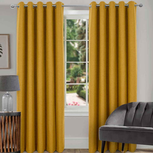 Spencer Ochre Blackout Eyelet Curtains 66 x 90. Buy at Beattys Loughrea Galway. Www.beattys.ie