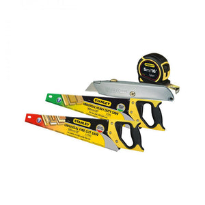 Stanley Twin Saw Pack with Knife & Measuring Tape  At Beattys Loughrea Galway. Www.beattys.ie