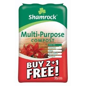 BORD NA MONA 75Ltr SHAMROCK MULTI PURPOSE COMPOST BUY 2 GET 1 FREE - Beattys of Loughrea , www.beattys.ie