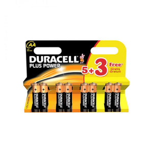 Duracell Plus Power AA Batteries - 5 Pack + 3 FREE - Beattys of Loughrea , www.beattys.ie