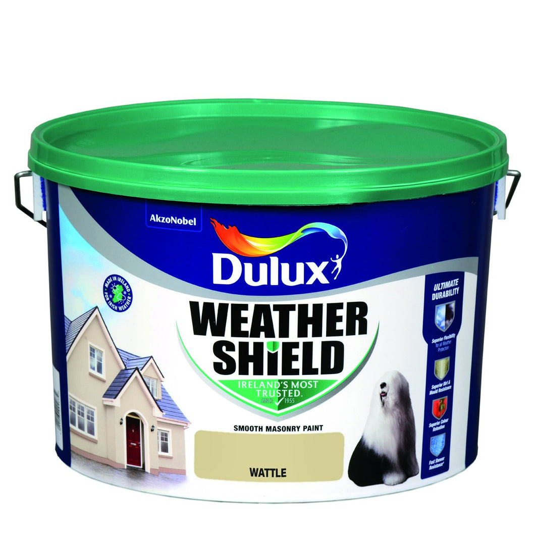 WATTLE  Dulux Weathershield Masonry Paint Colours - 10 Litre  At Beattys Loughrea Galway. Www.beattys.ie