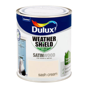 DSW750S W/SHIELD EXT SATINWOOD SASH CREAM 750ML DULUX  At Beattys Loughrea Galway. Www.beattys.ie