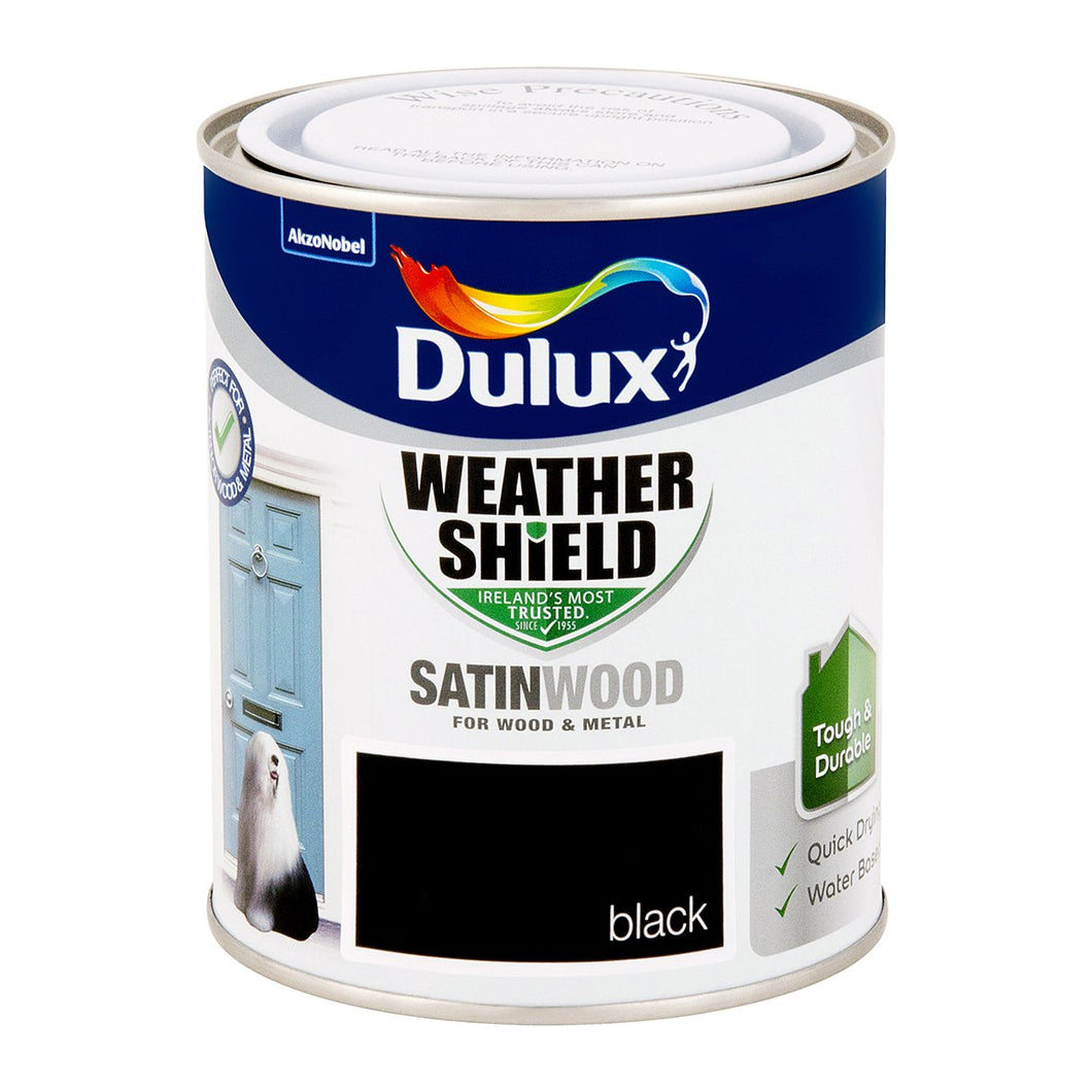 DSW750S W/SHIELD EXT SATINWOOD SATIN BLACK 750ML DULUX  At Beattys Loughrea Galway. Www.beattys.ie