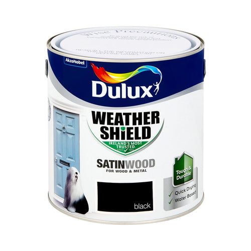 DSW2.5S W/SHIELD EXT SATINWOOD SATIN BLACK 2.5L DULUX  At Beattys Loughrea Galway. Www.beattys.ie