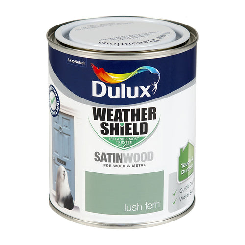 DSW750L W/SHIELD EXT SATINWOOD LUSH FERN 750ML DULUX  At Beattys Loughrea Galway. Www.beattys.ie