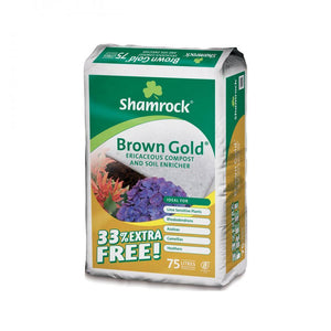 Shamrock Brown Gold Ericaceous Compost & Soil Enricher  At Beattys Loughrea Galway. Www.beattys.ie