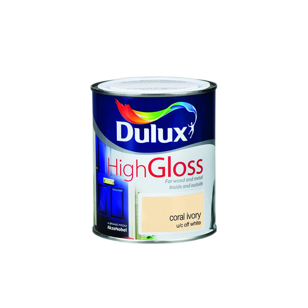 Dulux High Gloss Colour- 750ml CORAL IVORY  At Beattys Loughrea Galway. Www.beattys.ie