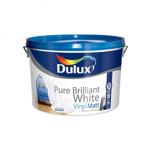 Dulux Vinyl Matt Pure Brilliant White Paint - 10 Litre  At Beattys Loughrea Galway. Www.beattys.ie