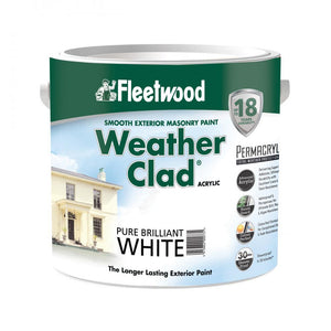 Fleetwood Weather Clad Smooth Masonry Brilliant White 2.5 Ltr  At Beattys Loughrea Galway. Www.beattys.ie