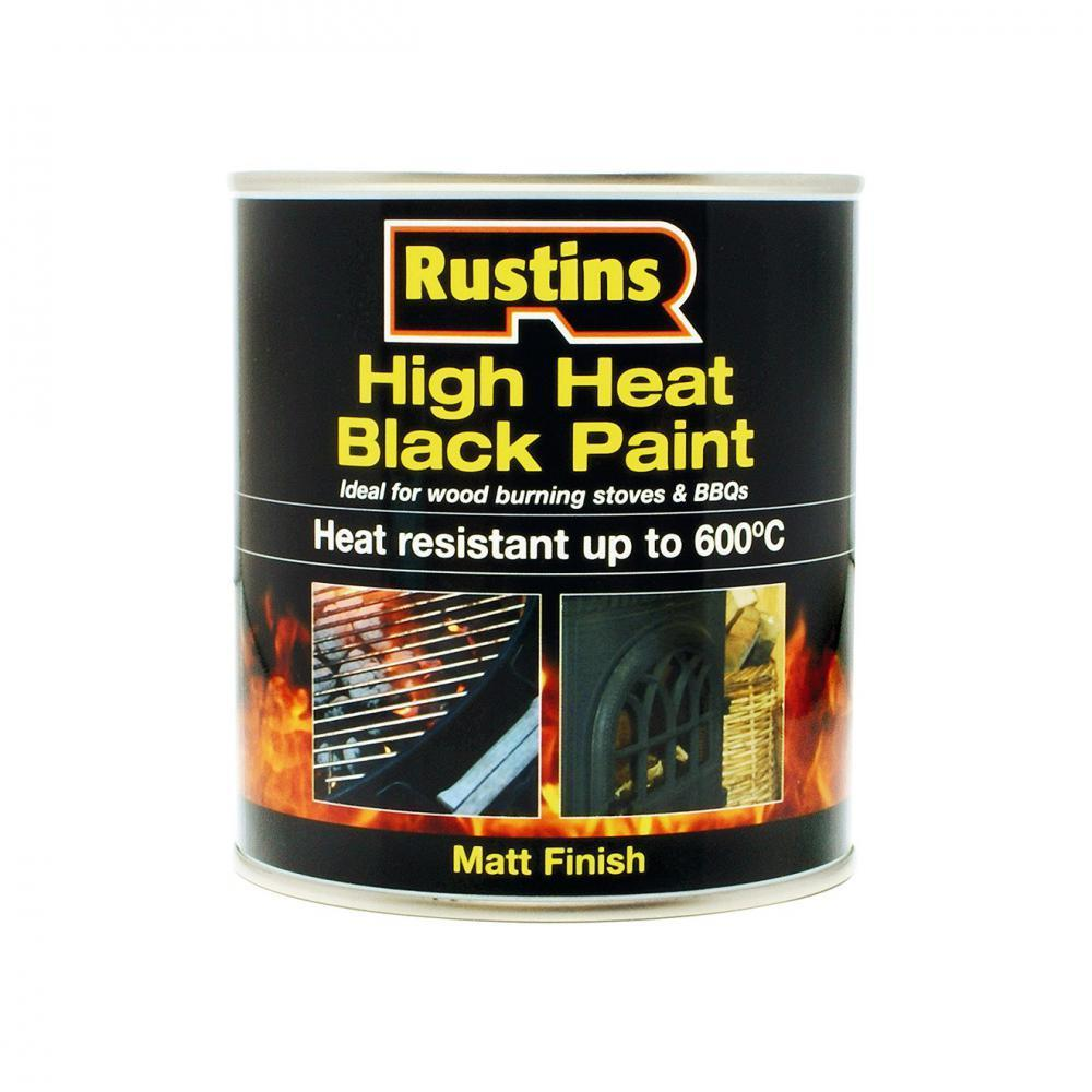 Rustins High Heat Black Paint - 250ml  At Beattys Loughrea Galway. Www.beattys.ie