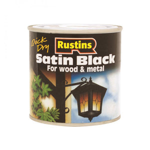 Rustins Quick Dry Black Paint Satin - 1 litre  At Beattys Loughrea Galway. Www.beattys.ie