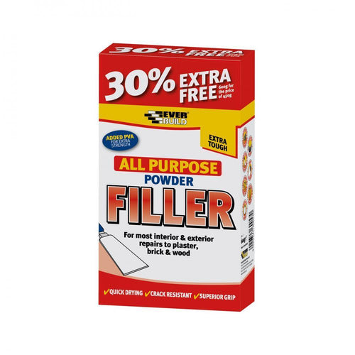 Everbuild All Purpose Powder Filler - 450gm + 30% Extra - Beattys of Loughrea , www.beattys.ie