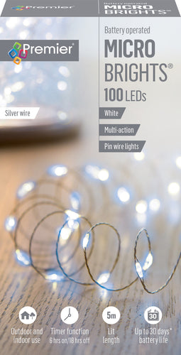 100LED PIN WIRE BO W/TIMER WHITE MICROBRIGHTS LB151210W  At Beattys Loughrea Galway. Www.beattys.ie