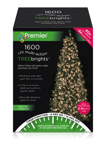 1600LED TREEBRIGHTS W/WHITE W/TIMER 2019TB006 LIGHTS  At Beattys Loughrea Galway. Www.beattys.ie