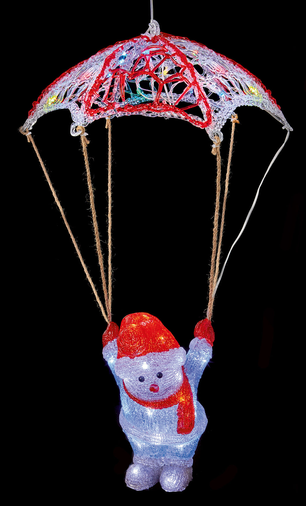 Premier LED Acrylic Parachute Snowman - 70cm  At Beattys Loughrea Galway. Www.beattys.ie