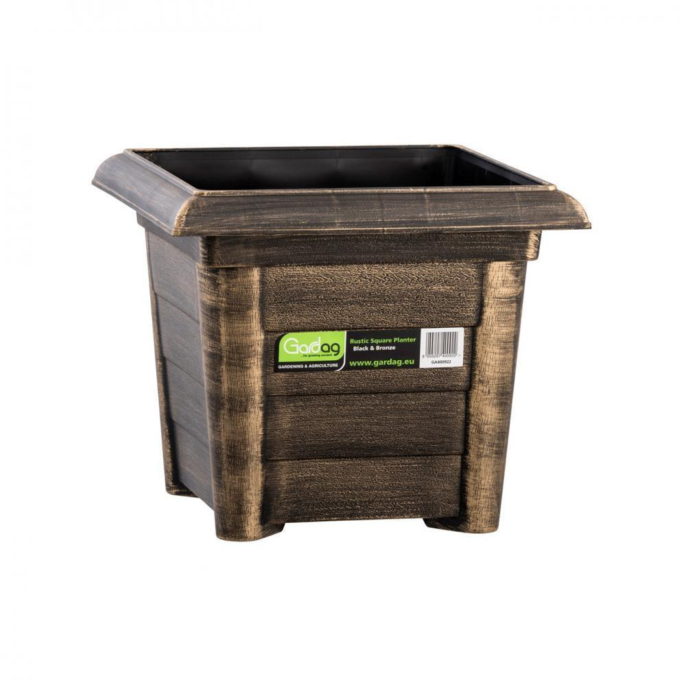 Gardag Rustic Black & Bronze Square Planter - 32cm  At Beattys Loughrea Galway. Www.beattys.ie
