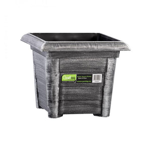 Gardag Rustic Black & Silver Square Planter - 32cm  At Beattys Loughrea Galway. Www.beattys.ie