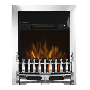 Warmlite Whitby Electric Fire Inset with Remote Control Chrome - 2kw  Buy at Beattys Loughrea. Www.beattys.ie