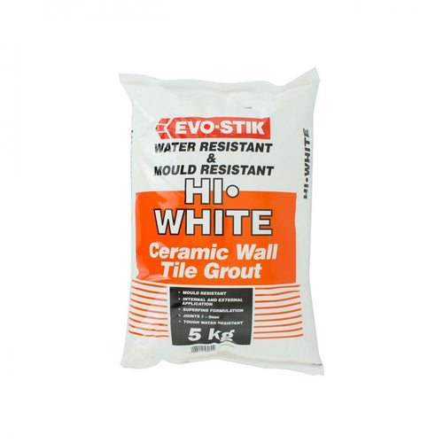 Evo-Stik Hi-White Ceramic Wall Tile Grout - 5kg - Beattys of Loughrea , www.beattys.ie