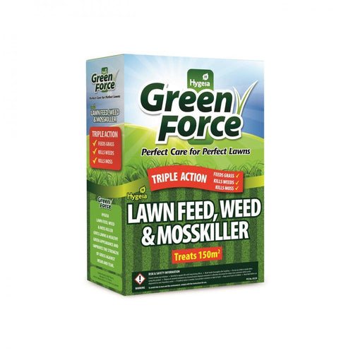 Hygeia Green Force Lawn Feed, Weed & Mosskiller - 3  At Beattys Loughrea Galway. Www.beattys.ie