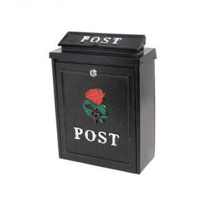 De Vielle Rose Diecast Post Box - Black - Beattys of Loughrea , www.beattys.ie