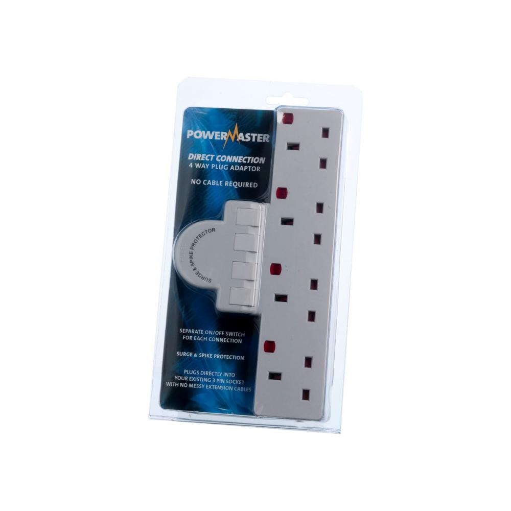 Powermaster Switched & Surge Protected Plug Board - 4 G  At Beattys Loughrea Galway. Www.beattys.ie