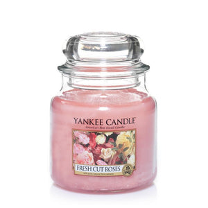 Fresh Cut Roses Medium Yankee Candle 411g  At Beattys Loughrea Galway. Www.beattys.ie