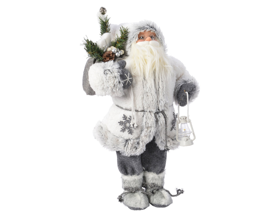 Grey Plush Santa with White Snowflake Jacket  - 90cm  At Beattys Loughrea Galway. Www.beattys.ie