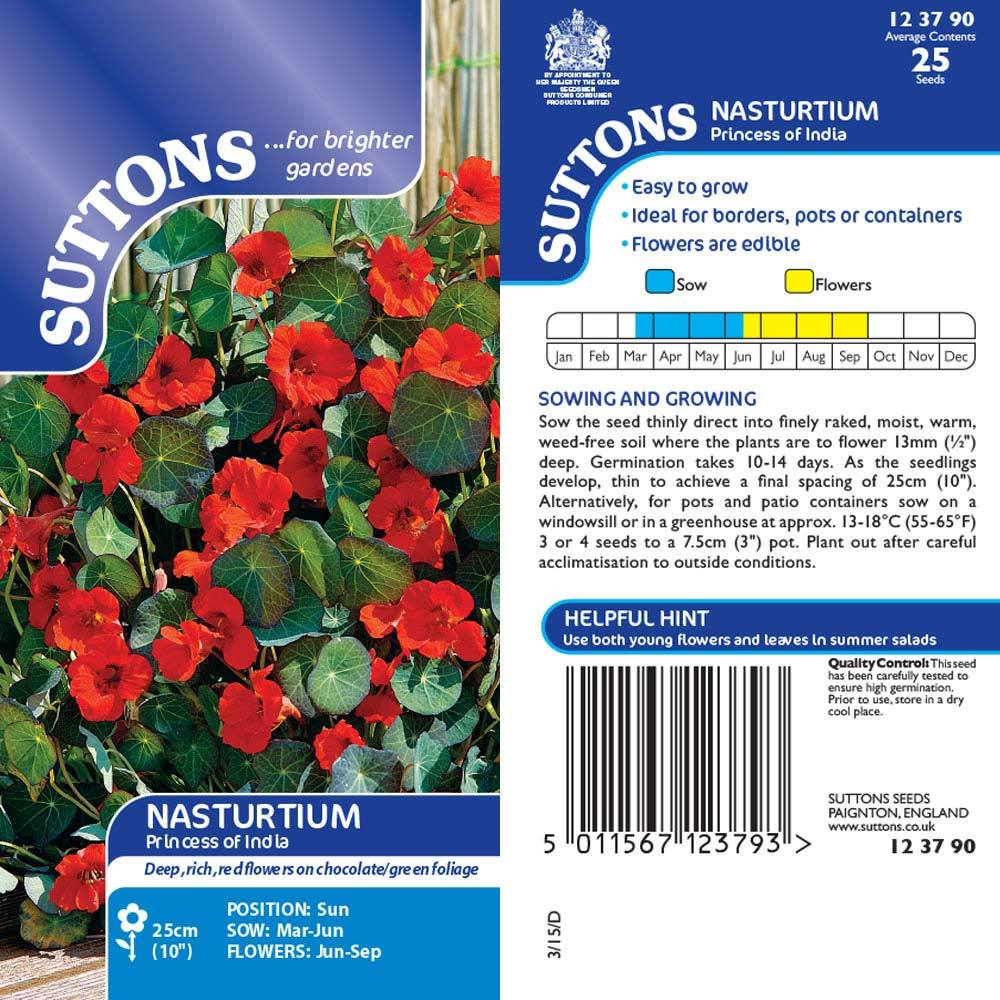 SUTTONS NASTURTIUM PRINCESS OF INDIA 123790 Buy Instore or online at beattys.ie