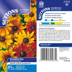 SUTTONS RUDBECKIA RUSTIC DWARF MIX - Beattys of Loughrea , www.beattys.ie