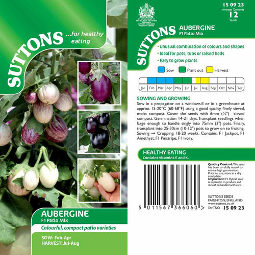 SUTTONS AUBERGINE F1 PATIO MIX G150923 - Beattys of Loughrea , www.beattys.ie