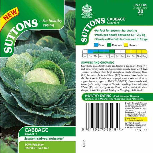 SUTTONS CABBAGE KILAZOL F1 CLUBROOT RESISTANT G155100 - Beattys of Loughrea , www.beattys.ie