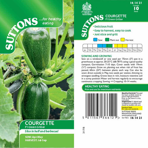 SUTTONS COURGETTE GREEN GRILLER G161421 - Beattys of Loughrea , www.beattys.ie