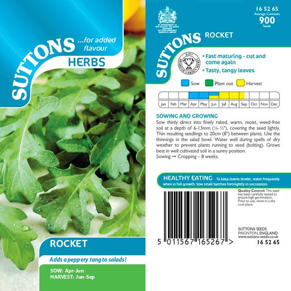 SUTTONS HERBS ROCKET 165265 Buy Instore or online at beattys.ie