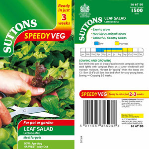 SUTTONS LEAF SALAD LETTUCE MIX SPEEDY VEG G166780 Buy Instore or online at beattys.ie