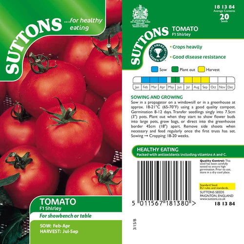 SUTTONS TOMATO F1 SHIRLEY G181384 - Beattys of Loughrea , www.beattys.ie