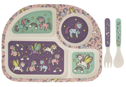 'Unicorns' Bamboo Baby Feeding Set - Beattys of Loughrea , www.beattys.ie