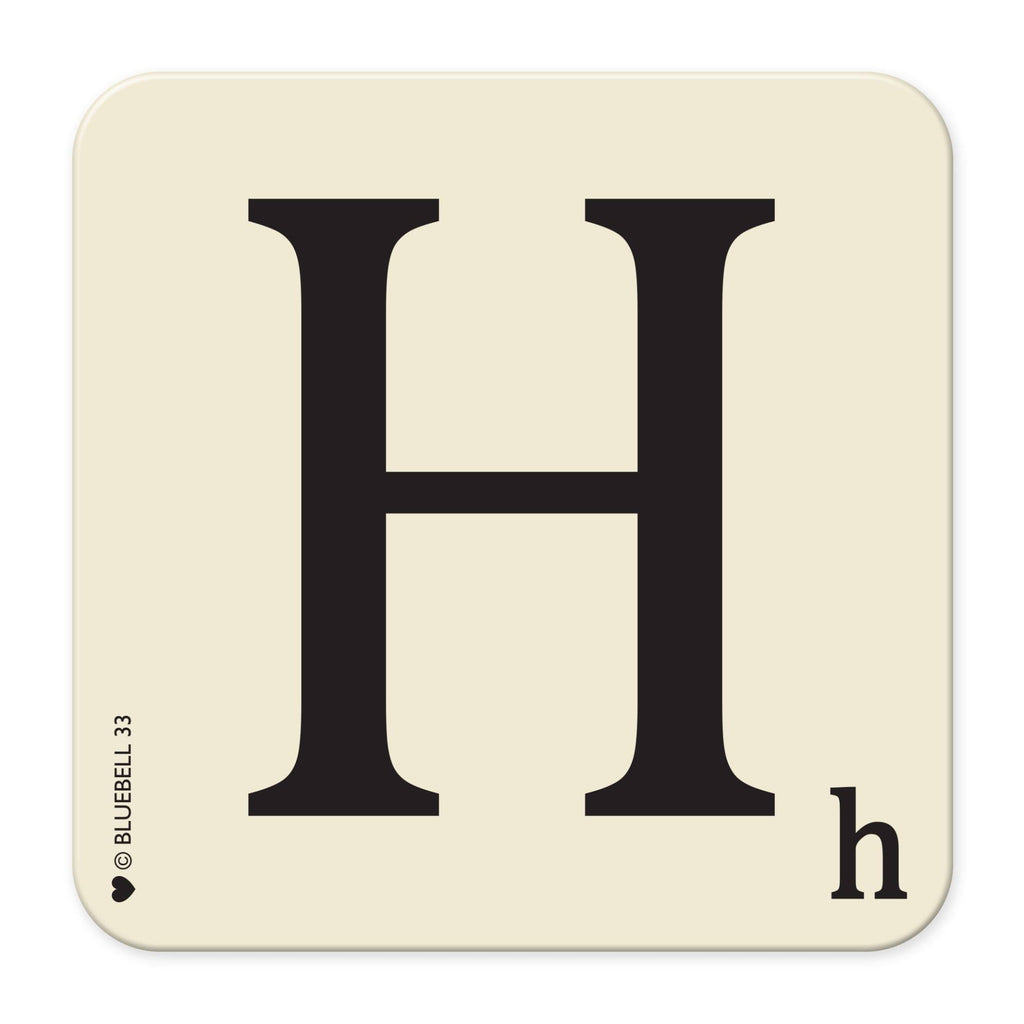 H' Letter Scrabble Coaster - Bluebell 33