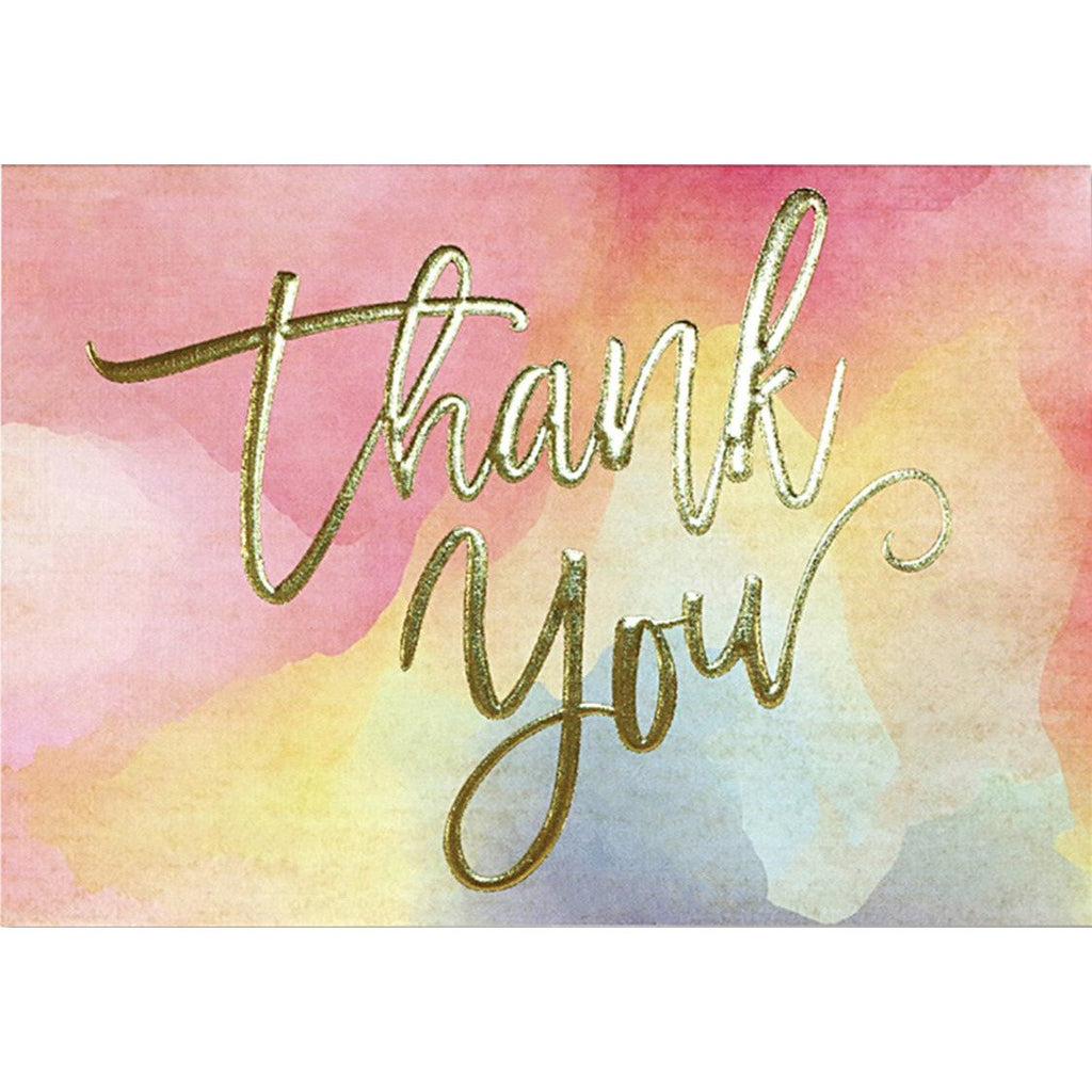 Watercolour Sunset Thank You Folded Note Cards - Peter Pauper Press (Pack of 14)