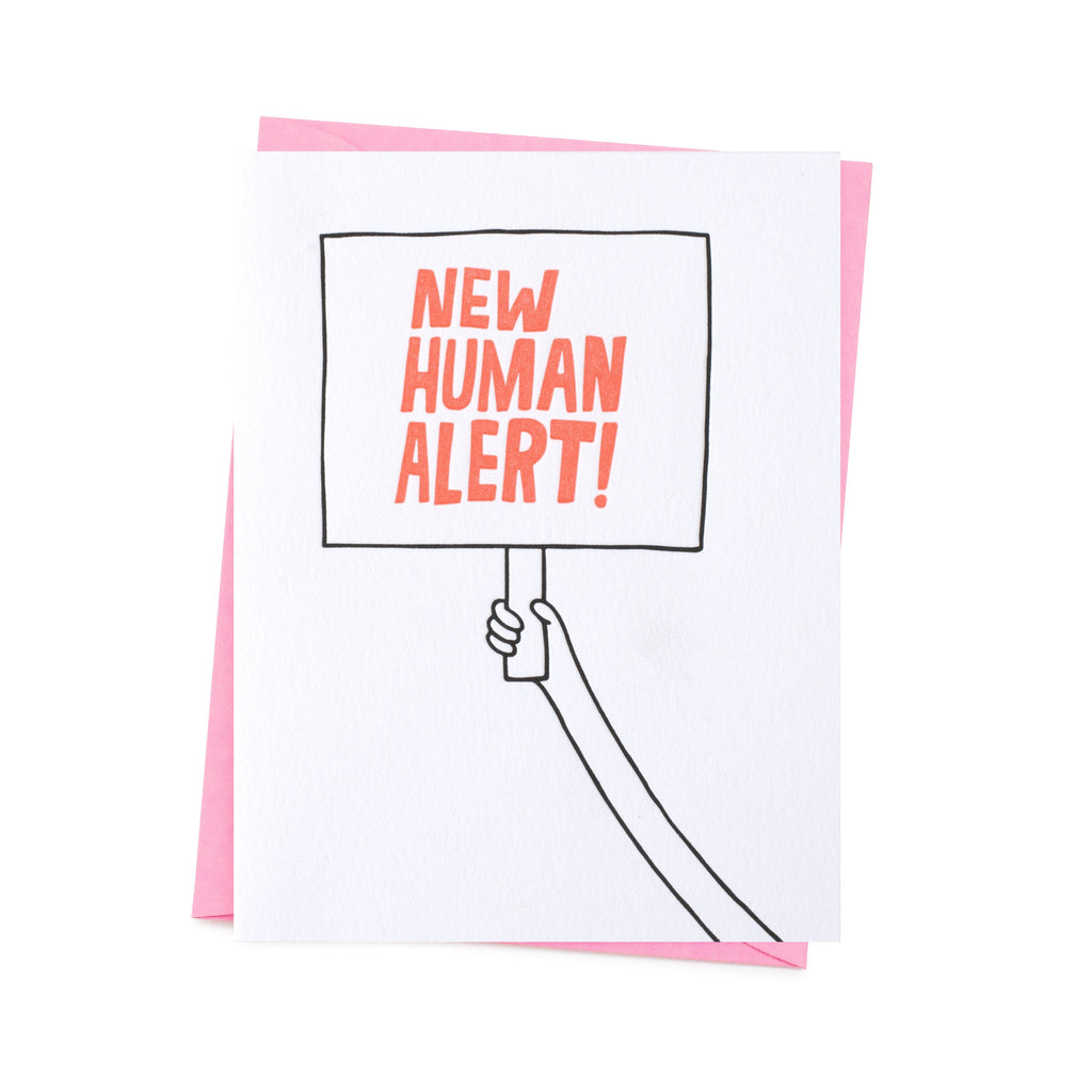 a hand carries 'new human alert' written banner. base white