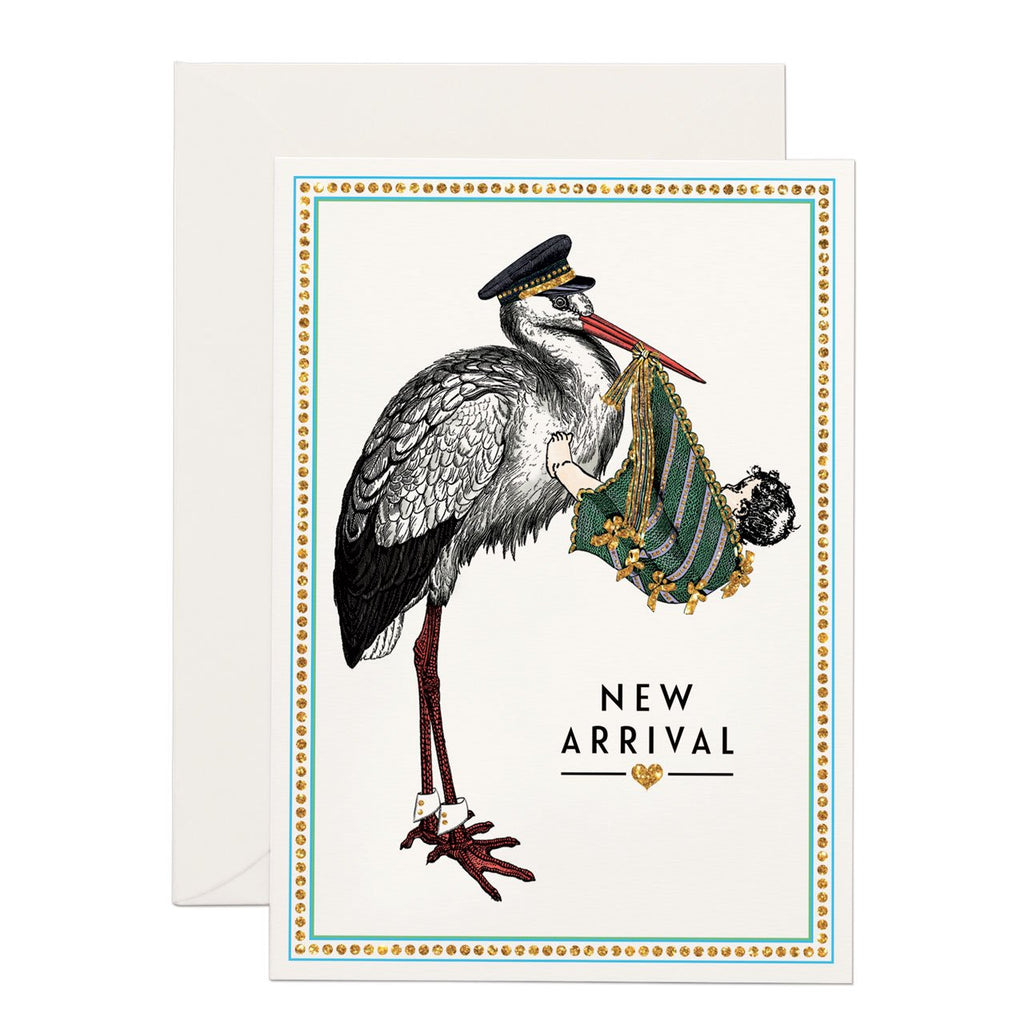 an classy stork carrying a baby.  'new arrival' written down below. base white