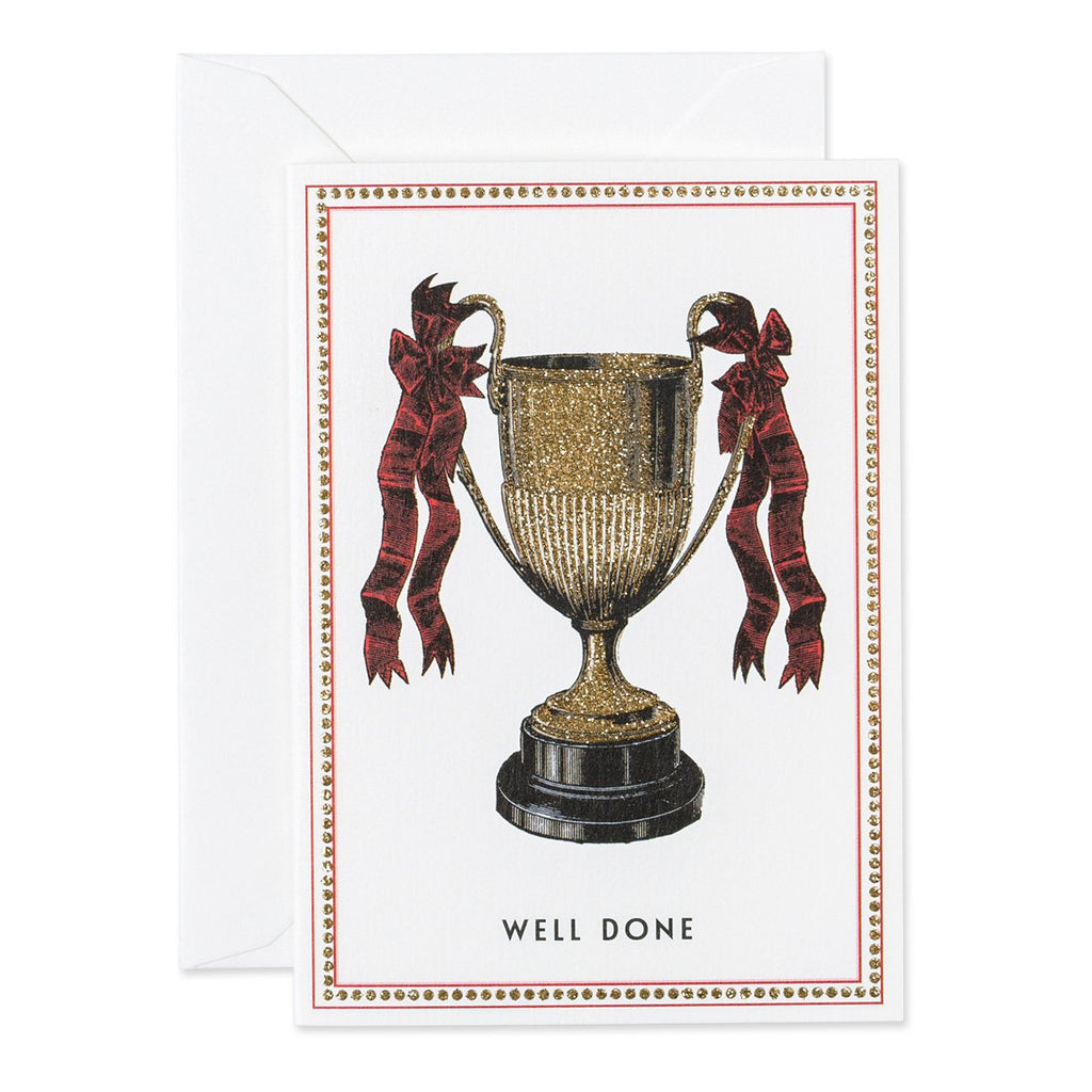 a golden sparkle trophy with red ribbons, 'well done' written below. base white