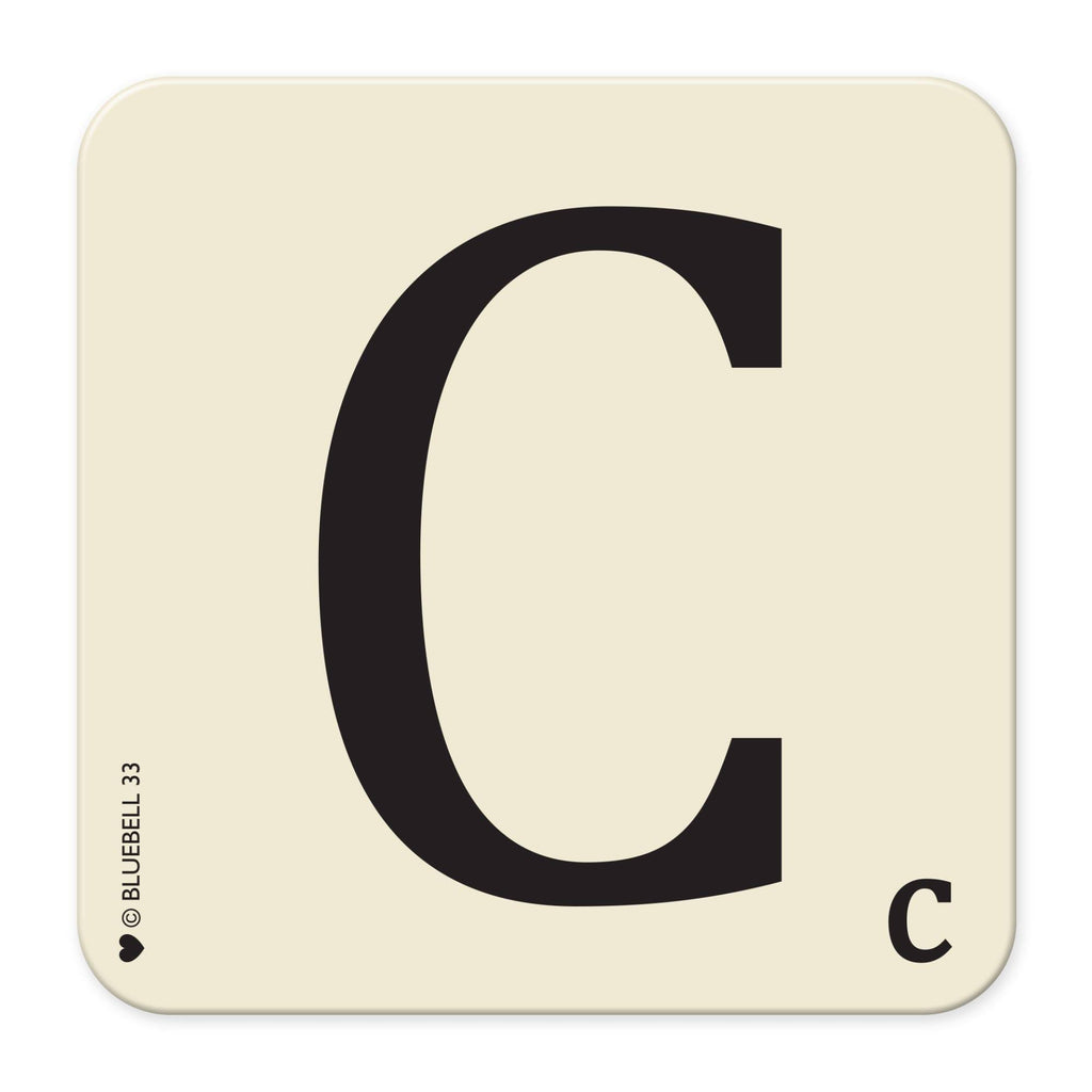 C' Letter Scrabble Coaster - Bluebell 33