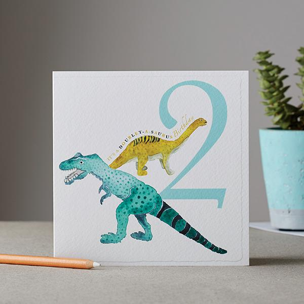 It's a Doublet-a-saurus Birthday Card - Deckled Edge
