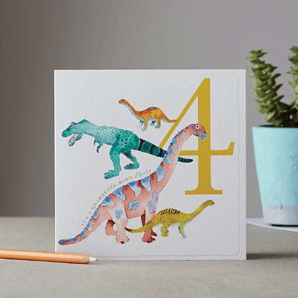 It's a Quadruple-dino Party Birthday Card - Deckled Edge