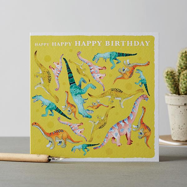 Happy Happy Happy Birthday Card - Deckled Edge