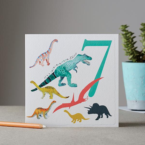 It's a Septuple-dino Party Birthday Card - Deckled Edge