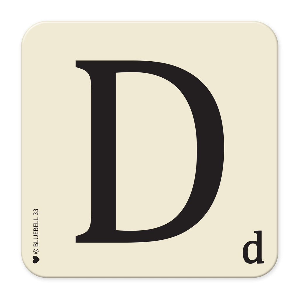 D' Letter Scrabble Coaster - Bluebell 33