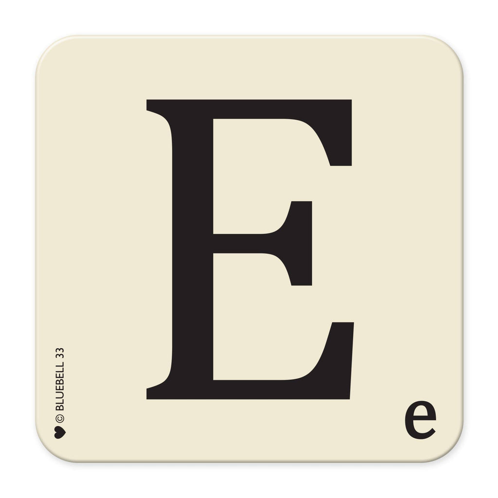 E' Letter Scrabble Coaster - Bluebell 33