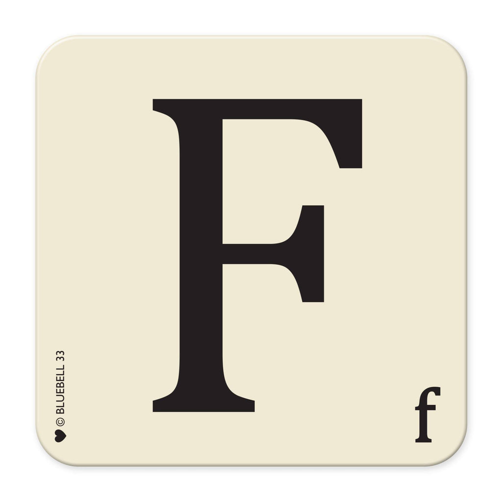 F' Letter Scrabble Coaster - Bluebell 33